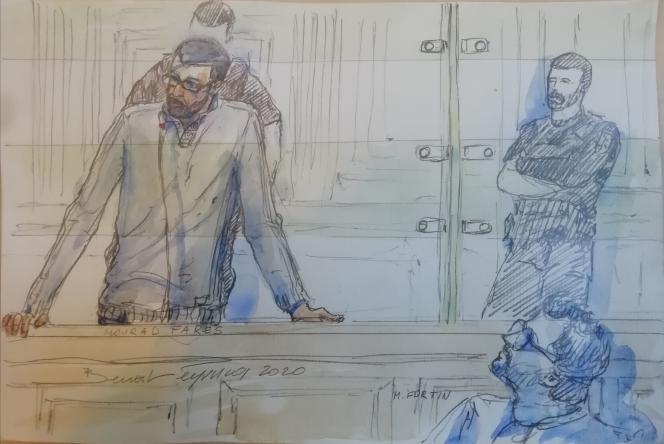 Un dessin montrant Mourad Farès lors de son procès à Paris, le 20janvier.