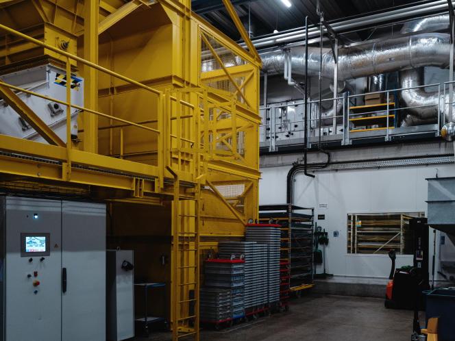 A l'usine InnovaFeed de Gouzeaucourt (Nord), le 15 janvier.