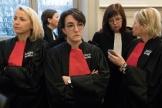 Les avocats en grève contre la réforme des retraites, au tribunal correctionnel du Puy-en-Velay, lundi 20 janvier.