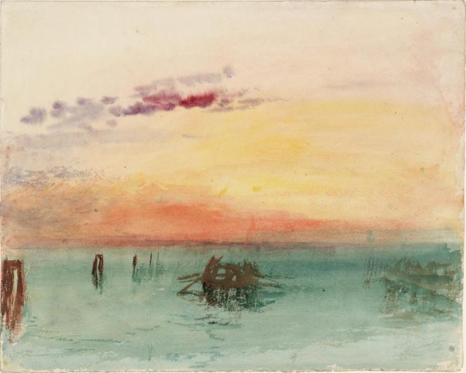 «Venise : vue sur la lagune au coucher du soleil», 1840, aquarelle sur papier.(Tate, accepté par la nation dans le cadre du legs Turner, 1856.)