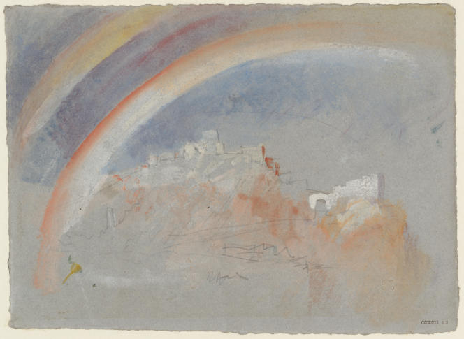 «Ehrenbreitstein avec un arc-en-ciel», 1840, graphite, aquarelle et gouache sur papier. (Tate, accepté par la nation dans le cadre du legs Turner, 1856.)