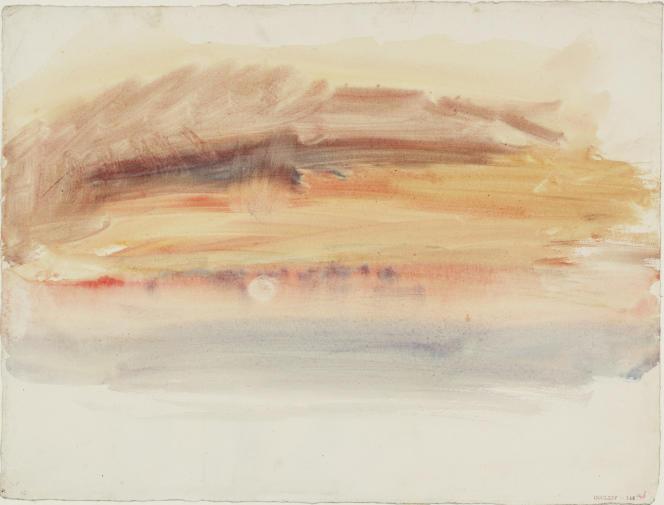 «Coucher de soleil», vers 1845, aquarelle sur papier. (Tate, accepté par la nation dans le cadre du legs Turner, 1856.)
