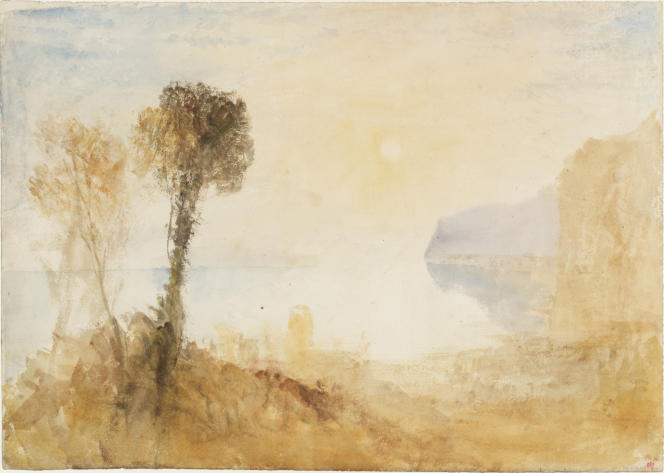 «Un paysage italianisant idéalisé avec des arbres au-dessus d'un lac ou d'une baie, éclairé par un soleil rasant», vers 1828–1829, aquarelle sur papier. (Tate, accepté par la nation dans le cadre du legs Turner, 1856.)