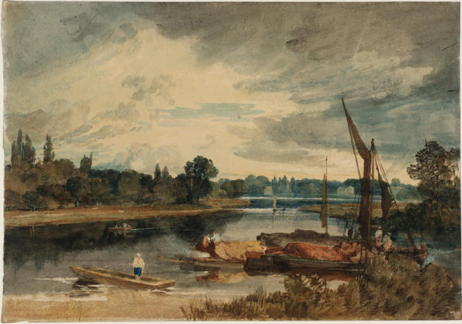 «La Tamise près d'Isleworth : barque et péniches au premier plan», 1805, graphite et aquarelle sur papier. (Tate, accepté par la nation dans le cadre du legs Turner, 1856.)
