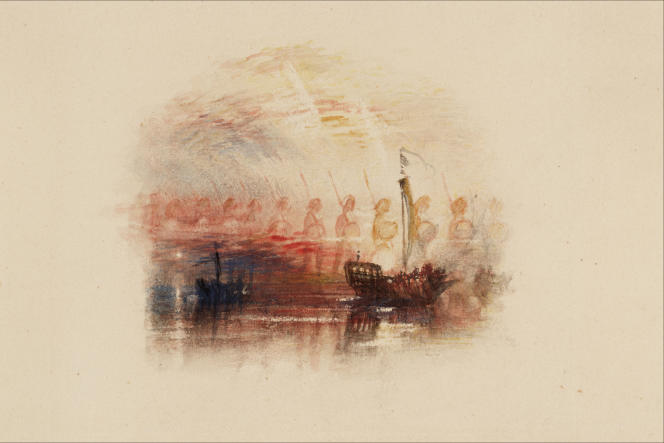 «La Vision de Colomb», pour les poèmes de Samuel Rogers, vers 1830-1832, graphite et aquarelle sur papier. (Tate, accepté par la nation dans le cadre du legs Turner, 1856.)