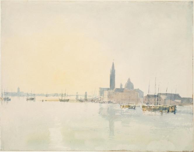 «Venise : San Giorgio Maggiore, au petit matin», 1819, aquarelle sur papier.(Tate, accepté par la nation dans le cadre du legs Turner, 1856.)