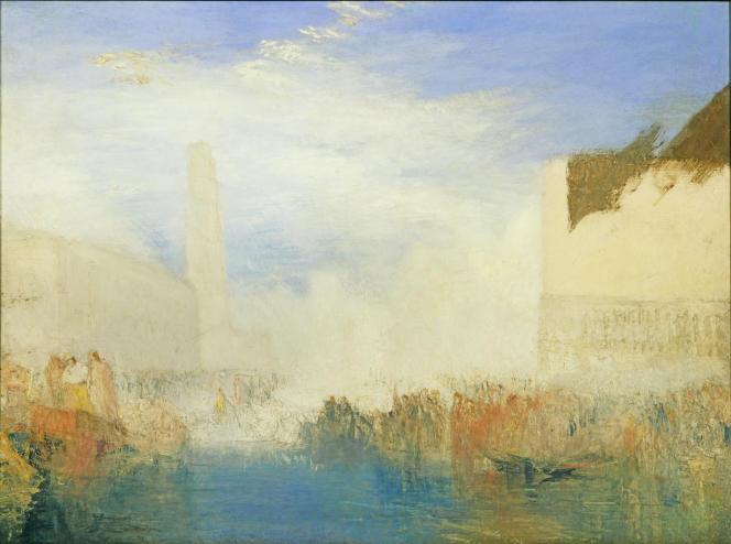 «Venise, la Piazzetta avec une cérémonie du doge épousant la mer», vers 1835, huile sur toile.(Tate, accepté par la nation dans le cadre du legs Turner, 1856.)