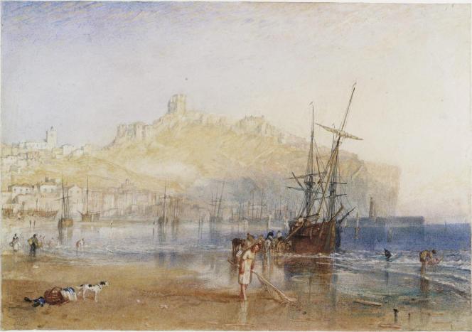 «Scarborough», vers 1825, aquarelle et graphite sur papier. (Tate, accepté par la nation dans le cadre du legs Turner, 1856.)
