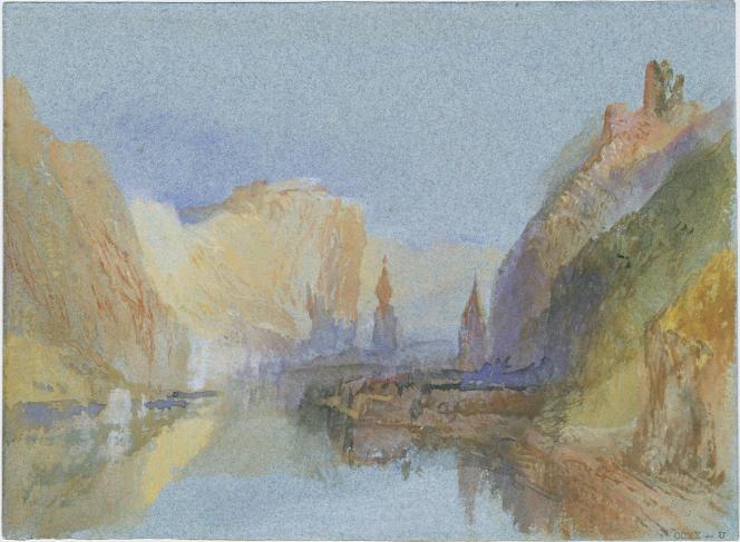 «Dinant, Bouvignes et Crèvecœur: coucher de soleil», vers 1839, gouache et aquarelle sur papier. (Tate, accepté par la nation dans le cadre du legs Turner, 1856.)