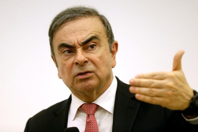 L'ancien PDG de Renault-NissanCarlos Ghosn, lors d'une conférence de presse à Beyrouth (Liban), en janvier 2020.
