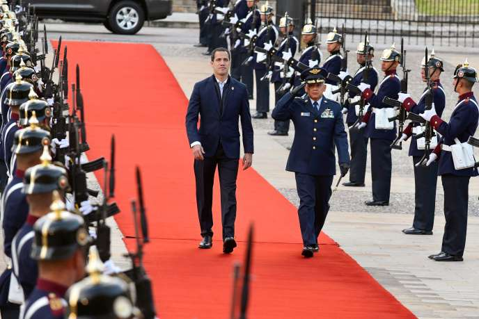 Juan Guaido, à son arrivée au palais présidentiel colombien, le 19 janvier 2020.