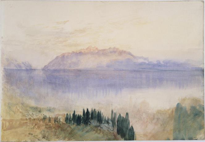 «Le Lac Léman avec la Dent d'Oche, au-dessus de Lausanne», 1841, graphite et aquarelle sur papier.(Tate, accepté par la nation dans le cadre du legs Turner, 1856.)