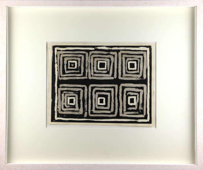 «Carrés concentriques», gouache sur papier, 1958, de Vera Molnar.