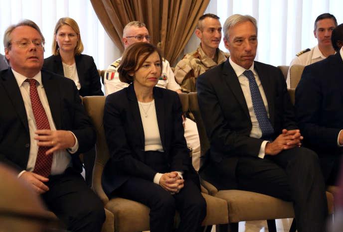 La ministre française des armées Florence Parly (au centre) au palais présidentiel à Bamako, au Mali, le 20 janvier 2020.
