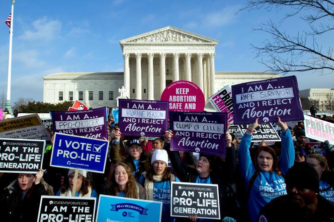 Des militants antiavortement, à Washington, le 18 janvier 2019.