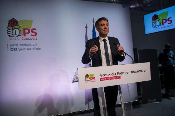 Le secrétaire du PS Olivier Faure au siège du parti à Ivry-sur-Seine, le 21 janvier 2020.