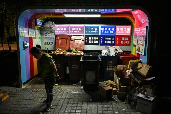 Local de tri des ordures à Shanghaï, en juillet 2019.