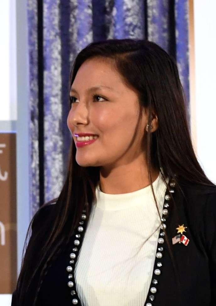 Arlette Contreras, en mars 2017, lors de la remise duprix international de la femme de courage du département d'Etat nord-américain.
