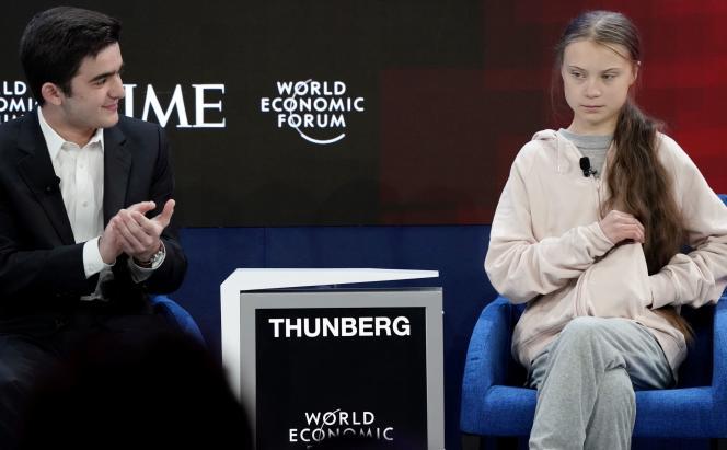 Salvador Gomez-Colon, étudiant et créateur de l'ONG «Founder of the Light & Hope for Puerto Rico», et Greta Thunberg, à Davos, le 21 janvier.