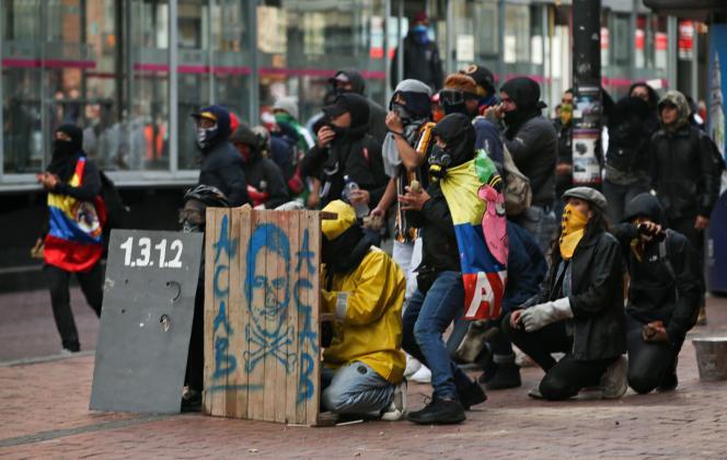 Manifestation contre la politique gouvernementale et le président Ivan Duque, à Bogota, le 21 janvier.