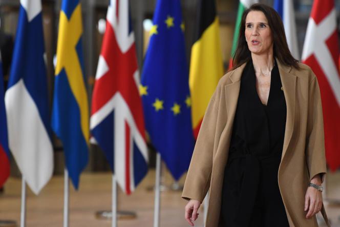Sophie Wilmès, première ministre belge, arrive au sommet de l'Union européenne du 13 décembre 2019, à Bruxelles.