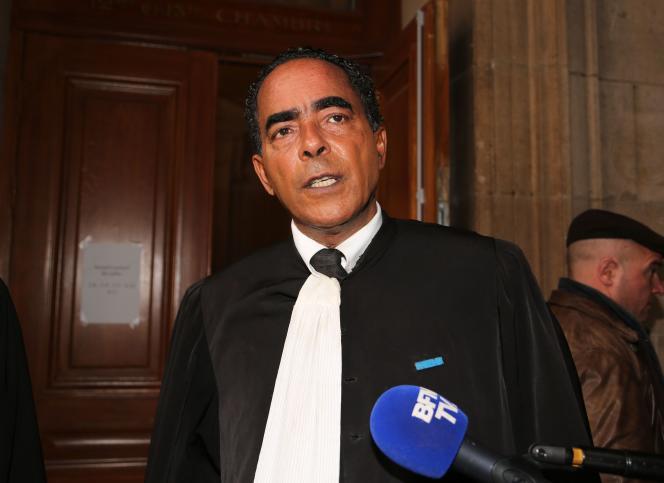 L'avocat Alex Ursulet lors du procès en appel d'ex-salariés d'Air France, à Paris, le 12 mars 2018.
