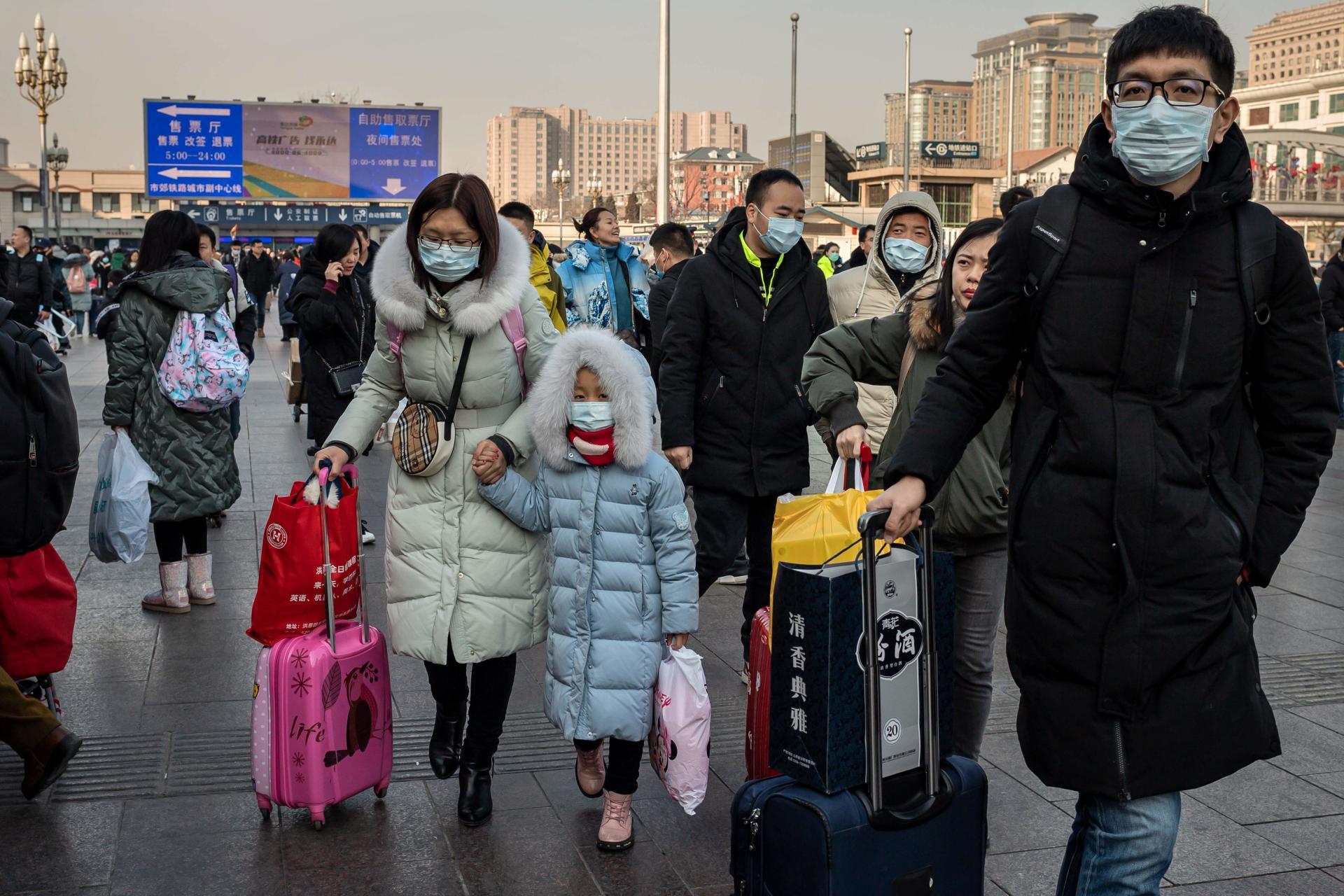 Des voyageurs pour le Nouvel An chinois à la gare de Pékin, le 21 janvier.