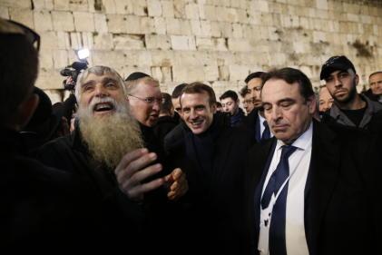 Emmanuel Macron au mur des Lamentations à Jérusalem, le 22 janvier 2020.