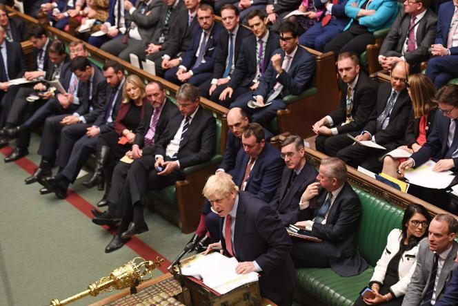 Boris Johnson à la Chambre des communes, à Londres, le 22 janvier.