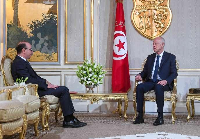 Elyes Fakhfakh et le président de la République tunisienne, Kaïs Saïed, le 20 janvier.