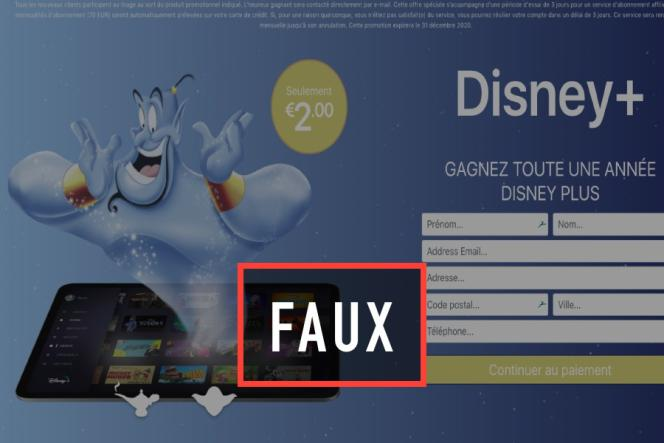 Exemple de faux site Disney proposant de s'abonner à Disney+, en ligne le 22 janvier.