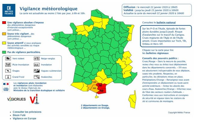 Carte de vigilance de Météo-France diffusée le 22 janvier à 19h05.