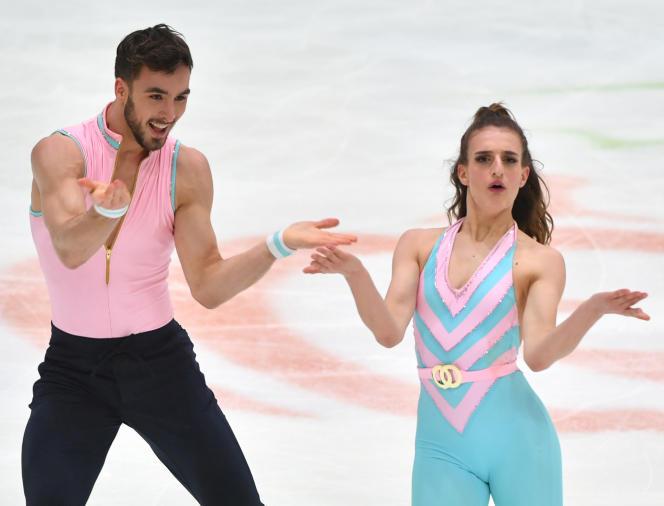 Gabriella Papadakis et Guillaume Cizeron lors de leur programme de danse rythmique aux Championnats d'Europe, le 23 janvier à Graz (Autriche).