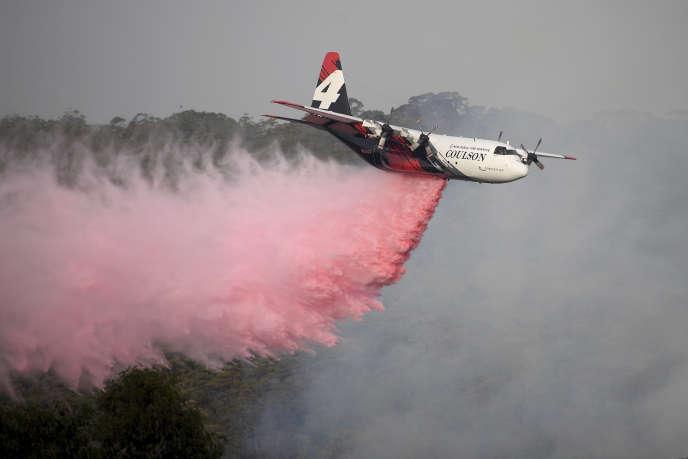 Un avion-citerne de Coulson Aviation, à Penrose (Australie), le 10janvier2020.