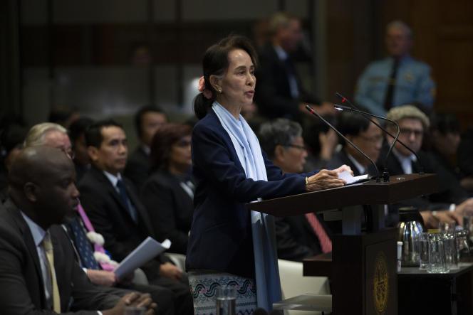 Aung San Suu Kyi devant la Cour internationale de justice (CIJ), le 11décembre2019.