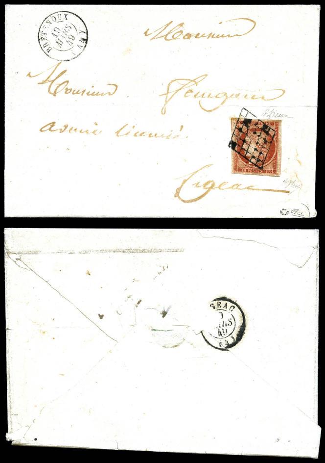 1 franc vermillon sur lettre, le timbre vedette de la collection de France, mise à prix à 11500 euros.