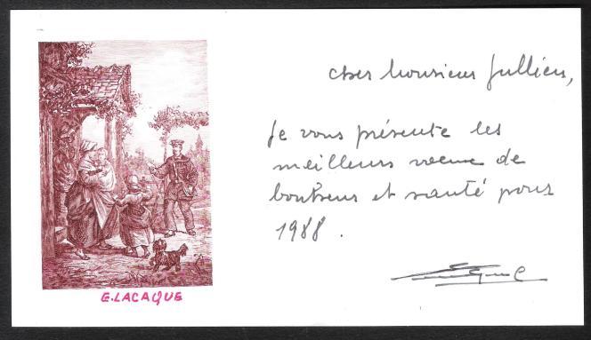 Gravure d'Eugène Lacaque pour ses voeux 1988.