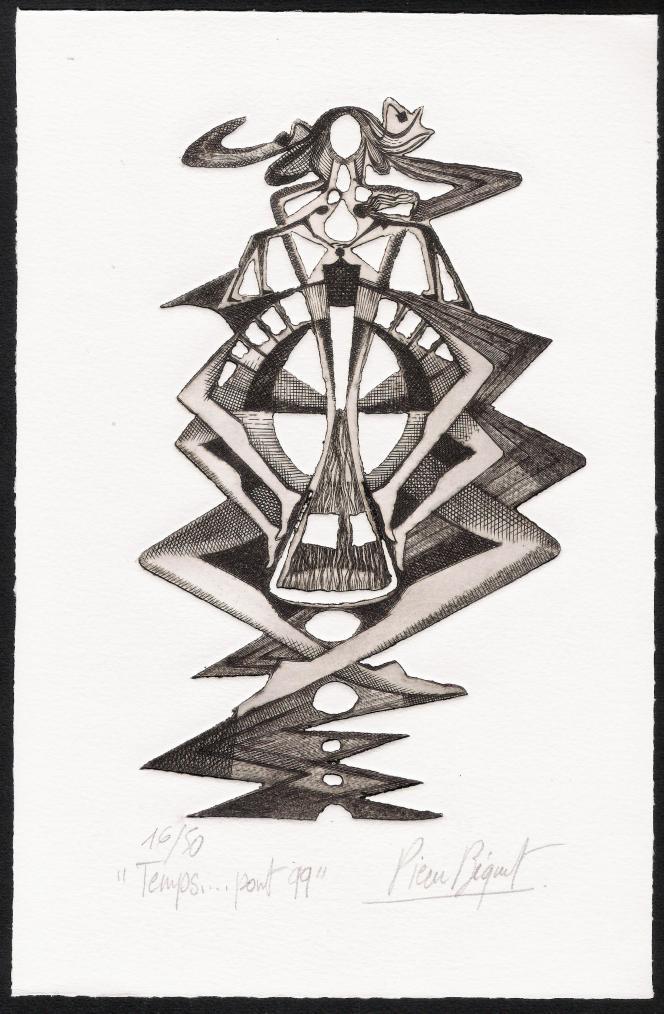 « Temps... pont», de Pierre Béquet, taille-douce et gaufrage, format 160 x 250 mm. Voeux 1999.