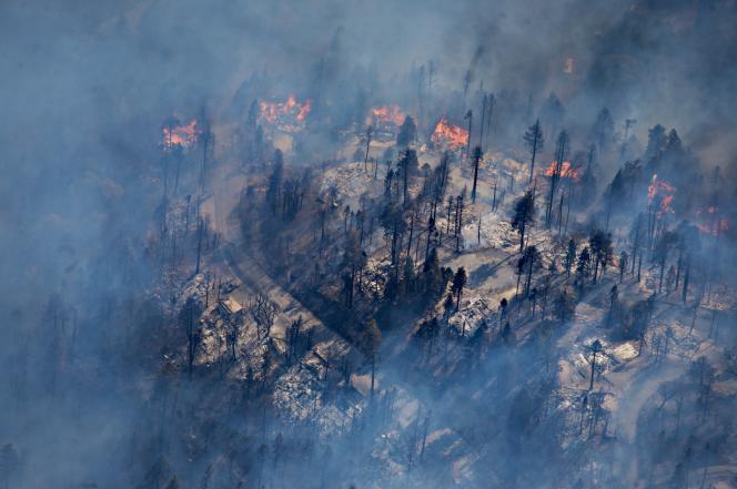 Une banlieue aux Etats-Unis entourée de feux de forêts.