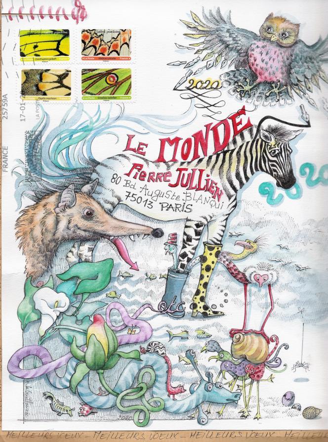 Des voeux 2020 signés Noëlle Le Guillouzic. Format de l'illustration: 220 x 275 mm.