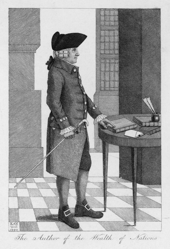 « Les économistes en sont venus à considérer le travail comme une charge et non comme un ingrédient de la production légitimant une répartition entretoutes ses parties prenantes. » (Illustration:Adam Smith, 1723-1790.)