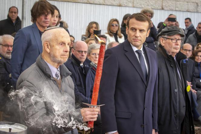 Emmanuel Macron à une cérémonie au Mémorial de la déportation des juifs de France à Roglit, Neve Michael, Israël, le 23 janvier.