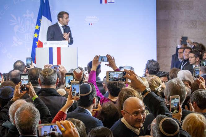Emmanuel Macron devant la communauté française au Centre international de conférence à Jerusalem-Est, le 23 janvier 2020.