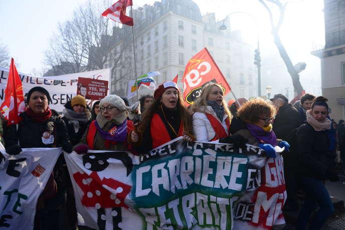 Manifestation contre le projet de réforme des retraites à Paris le 24 janvier.