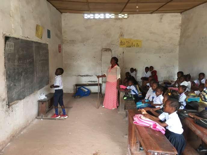 Une classe de l'écoleKilimani, à Kinshasa, en janvier 2020.
