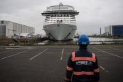 Le paquebot «MSC Grandiosa»sur les Chantiers de l'Atlantique, à Saint-Nazaire (Loire-Atlantique), le 31 octoble 2019.