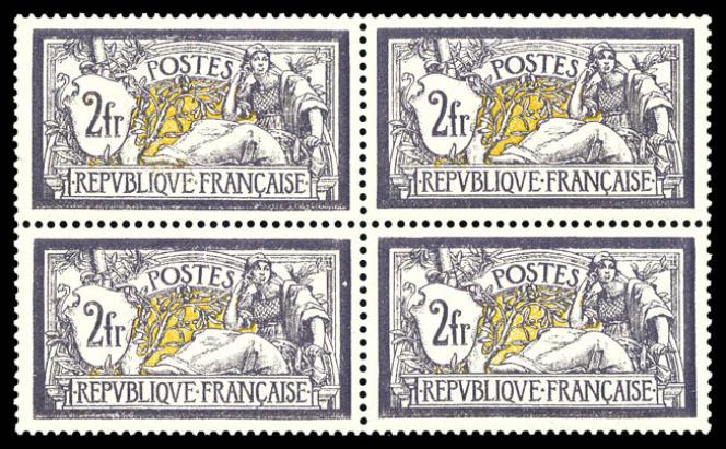 7000 euros pour ce bloc de quatre 2francs violet et jaune «Merson».