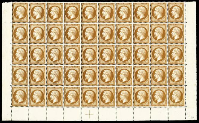 Panneau de 50 exemplaires du 10 centimes bistre-brun, Empire dentelé: 35000euros minimum.