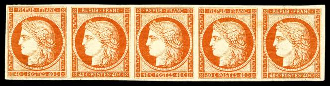 9000euros minimum pour cette bande de cinq du 40 centimes orange foncé.