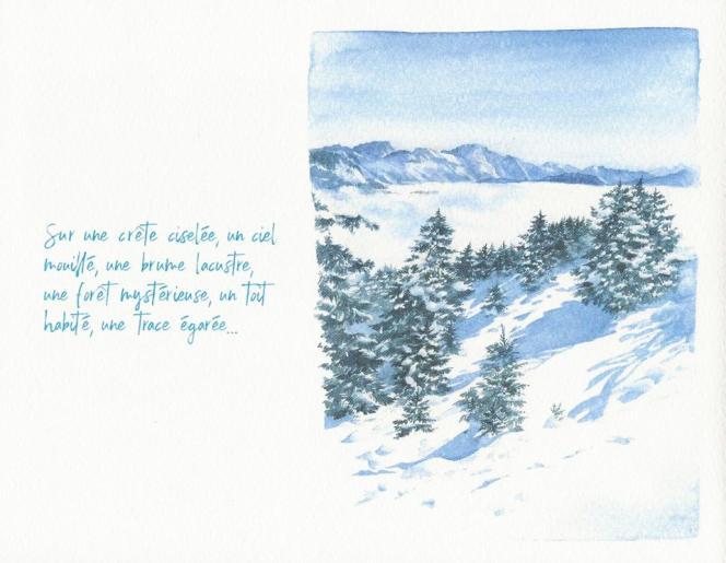 Page intérieure du« Carnet de voyage », de Noëlle Le Guillouzic et Claudie Blanc-Eberhart (Savoie Mont-Blanc Tourisme).